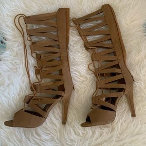 Gladiator Cut Out Lace Up Peep Toe Mid-Calf Heels